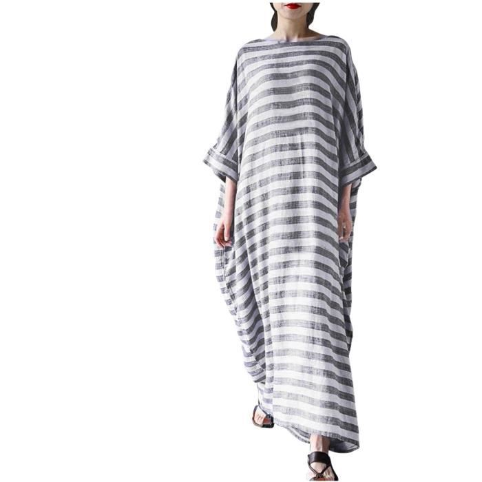Femme manches Batwing Baggy rayé Casual Taille en vrac Kaftan plus Robe longue Maxi 2CAHO4 Taille-34