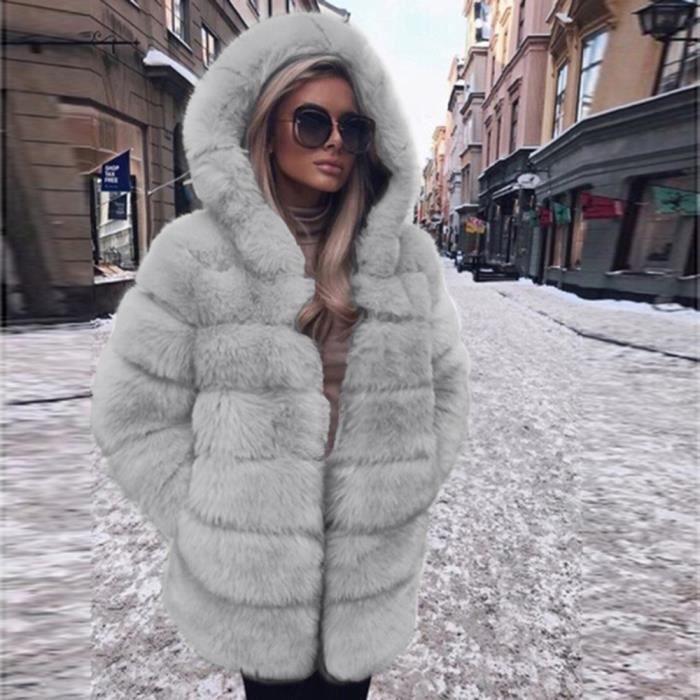 7da1fab5478 Femmes Mode Luxe Manteau en fausse fourrure à capuchon Automne Hiver chaud  Pardessus Gris