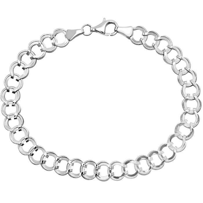 Revoni - Bracelet en or blanc 9 carats et diamants taillés, maillons avec fers à cheval porte-bonheur reliés, longueur 19,5 cm