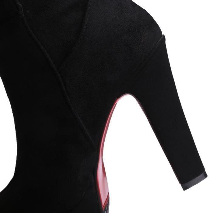 Femme Bottine - Botts Automne Chaud Longue Solide Carré Chic Tempérament Séduisante élégante Nouveau Young Confortable
