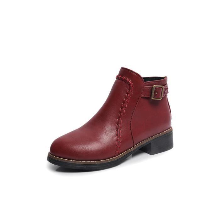 Cheville À Femme Slip Cuir Flock Bottes Talkwemot9087 Chaussures Moto Plates En twqFPFRx