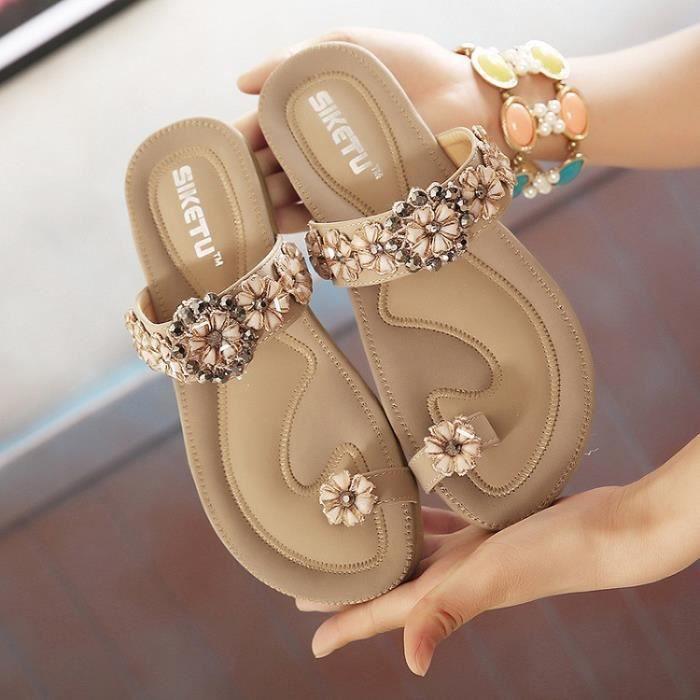 Sandales femme plat Nouveau Bohême diamant code Doux confortable plage strass