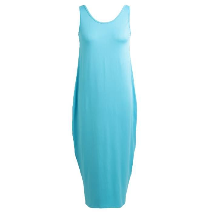 Robe G8939 Bleu ciel Taille XXXXXL Boho Plunge Dos nu Round Neck Sans manches Longue Maxi Gown Casual Plage Vacances Sun