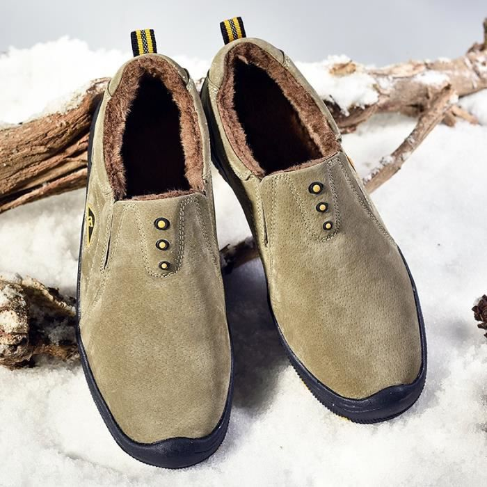 Bottes de neige Mode pour hommes d'hiver Chaussures en coton chaud antidérapante Chaussures étanches Taille 38-45