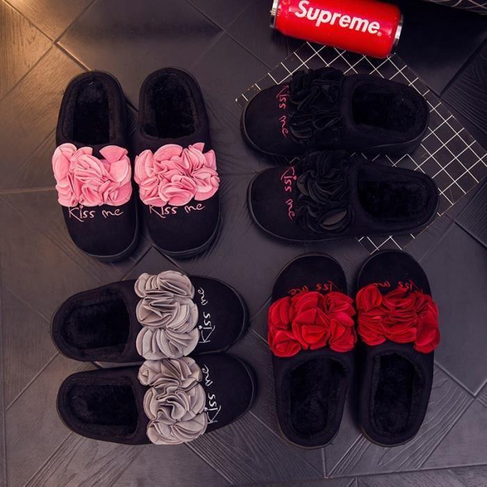 Automne Hiver Slipper Femmes en peluche chaud Maison Slipper coton rembourré confortable sol Accueil Slipper,noir,35