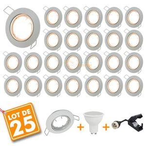 SPOTS - LIGNE DE SPOTS 25 x Spot encastrable orientable complet LED 5W  e