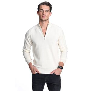 PULL 100% Pull pur cachemire pour hommes Half Zip Mock