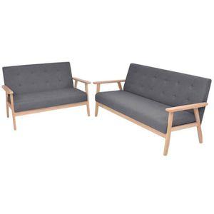 CANAPÉ - SOFA - DIVAN SOFA Jeu de canapé 2 pcs Sofa mode simple Tissu Gr