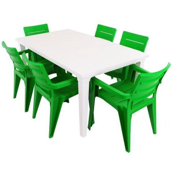 JUSThome Salon de jardin Ibiza Ensemble 6 Chaises + Table Vert Blanc ...