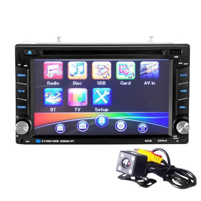6.5 Double 2din Touch Car Stereo Cd Dvd Player Bluetooth Usb Sd Am Fm Tv Radio Cli055