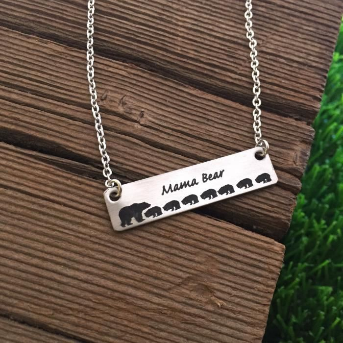Womens Mama Bear 7 Cubs Necklace Bar Necklace Bar Jewelry Mom Necklace Bar Jewelry For Mom Gift Mo UNVWL