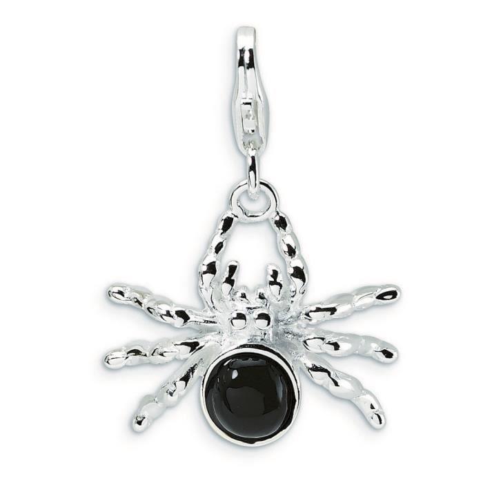3 D Argent 925/1000–Émail-Spider avec Mousqueton Charms-Dimensions :26 x