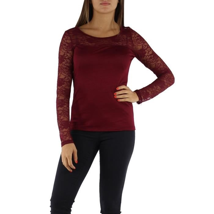 21b0335daf30a Top t-shirt fantaisie dentelle manches longues femme T U Rouge bordeaux uni  Viscose