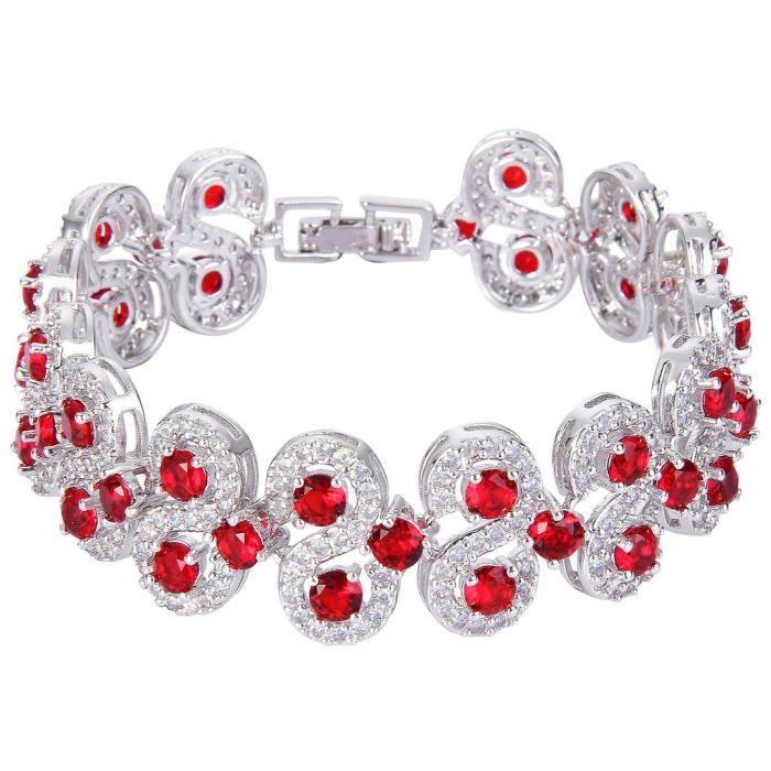 Ever Faith Les femmes de ton argent Cz Birthstone Vinstage Style Art Déco Roman Tennis Bracelet OHFWZ