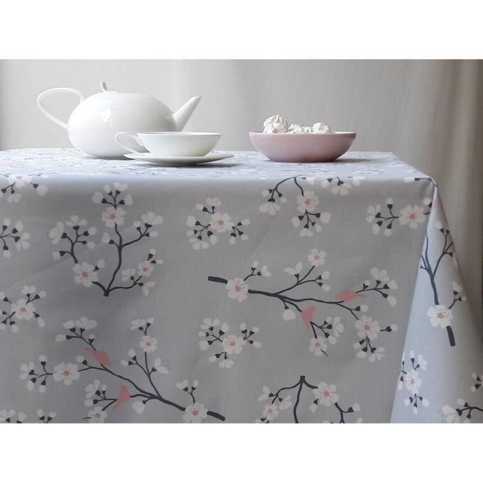 Nappe coton enduit Cerisier gris/rose carrée 160x160 - Fleur de ...