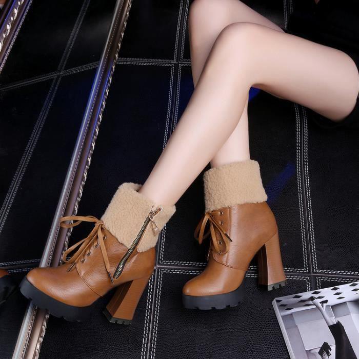 martin boots-Pur Heel Couleurpais de femmes avec zips lat raux Lacet Bottes IXS4wGlzR