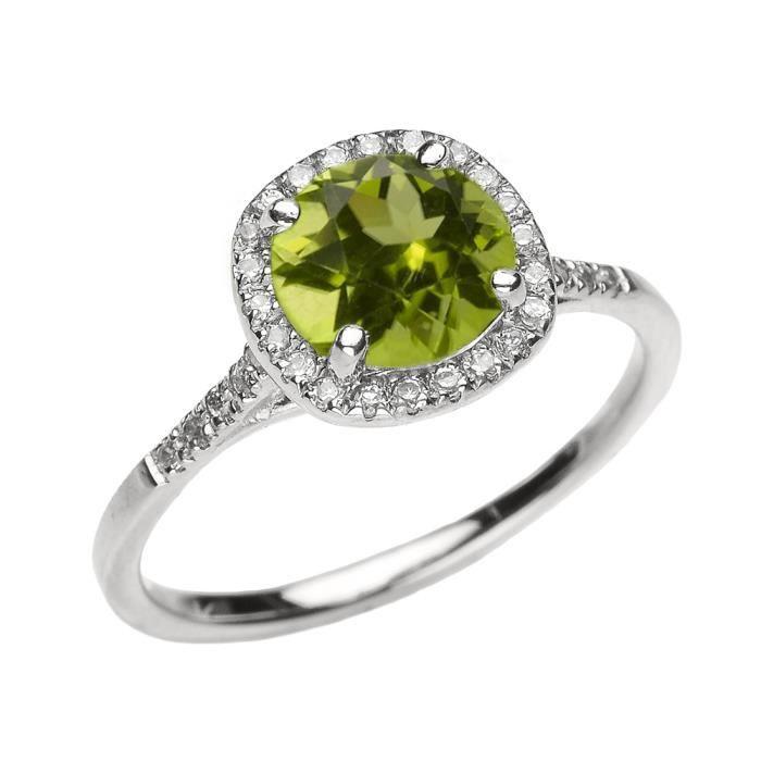 Bague Femme 10 Ct Or Blanc Diamant Et Véritable Péridot