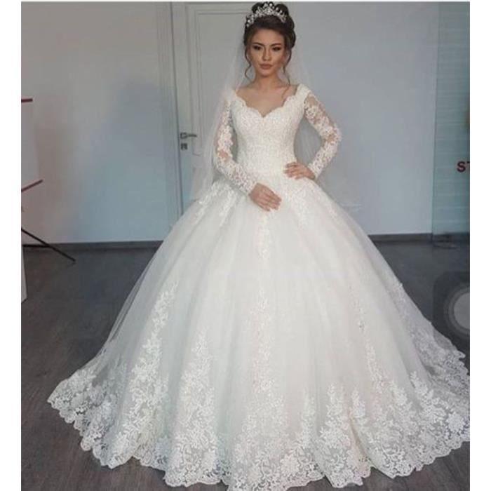 6c97df78d22 Dentelle perle Princesse robe de mariée Beige - Achat   Vente robe ...