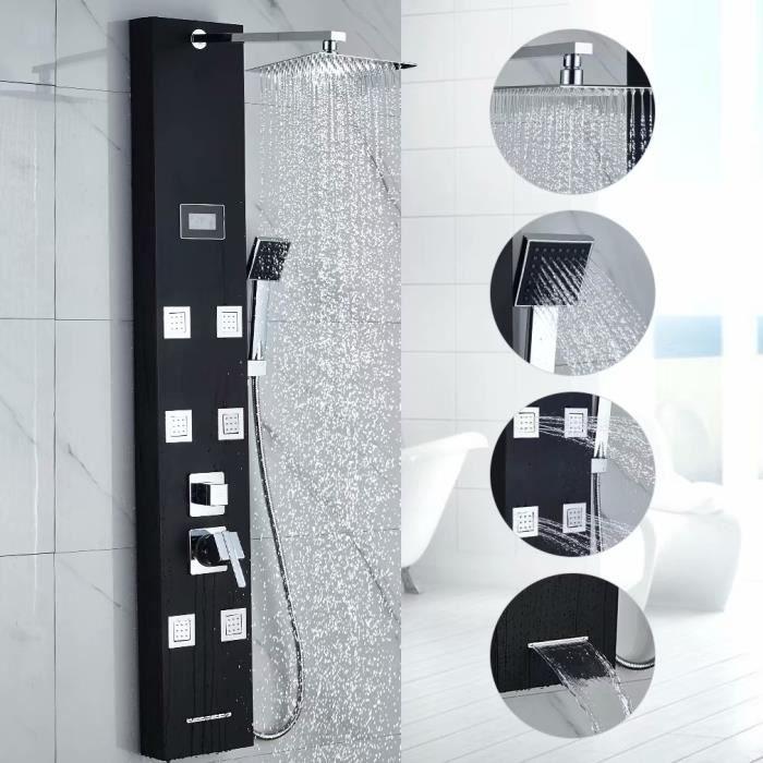 Auralum Colonne de Douche Noir Multi-foctionnel ÉCRAN LCD Affichage ...