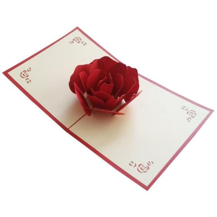 Carte Cdiscount St Valentin.Papier Elegant Craft 3d Rose Carte Saint Valentin Anniversaire Fete Des Meres Cadeau Present Rouge