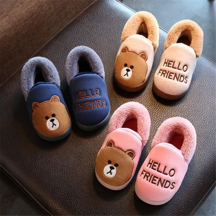 Ours Chausson Garde Au Chaud Confortable Coton Chaussure Enfant Mignon Doux Haut qualité Hiver Chaussons Plus De Cachemire 14-19 IdsYnidr