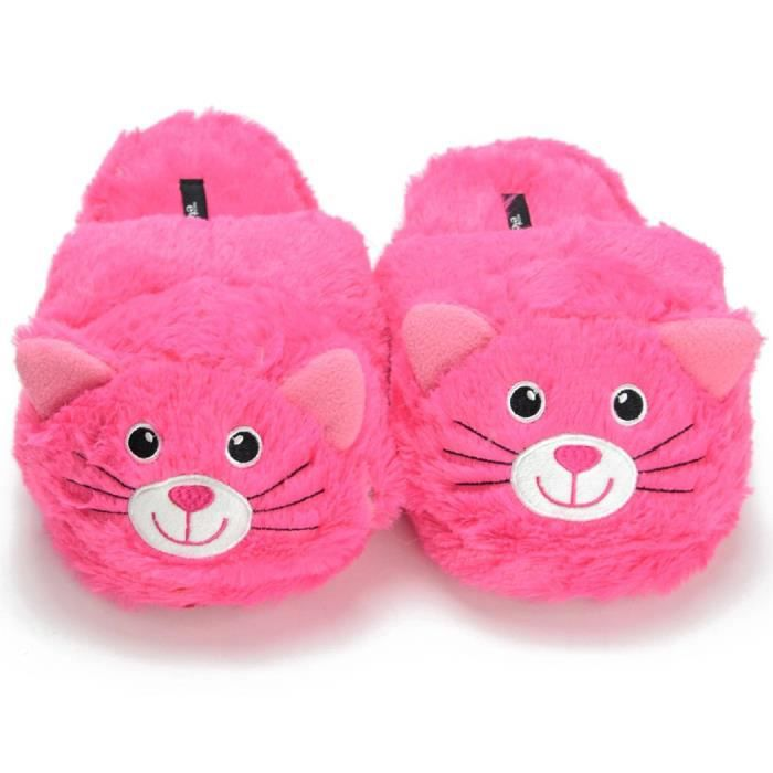 Cozy Slip On Pink Animal Cat House Indoor Slippers RO7DG Taille-38