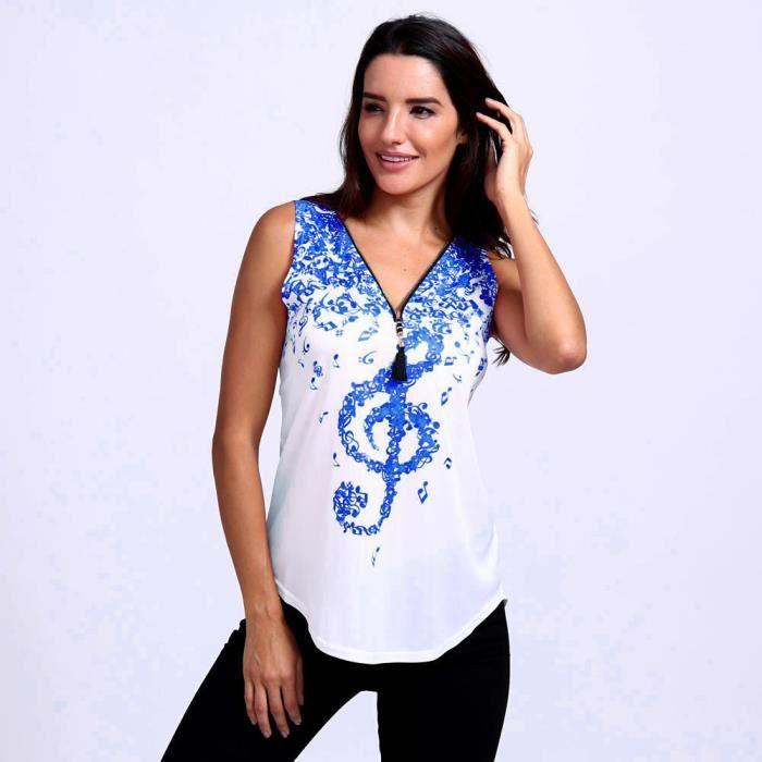 Imprimé De Notes Manches Bleu V Amour Tops Débardeur Sans shirts Encolure Musique Femmes T À Zipper En Y4HwERq