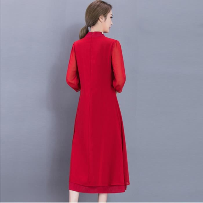 Robe femme automne manches longues col mandarin national mode Rouge SIMPLE FLAVOR