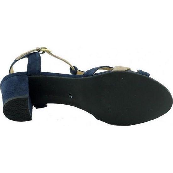 b2bc4bc2571 LAMY - Sandales talon carré stable chaussures petites pointures tailles Femme  marques Angelina cuir daim bleu marine et beige Bleu N-marine - Achat    Vente ...