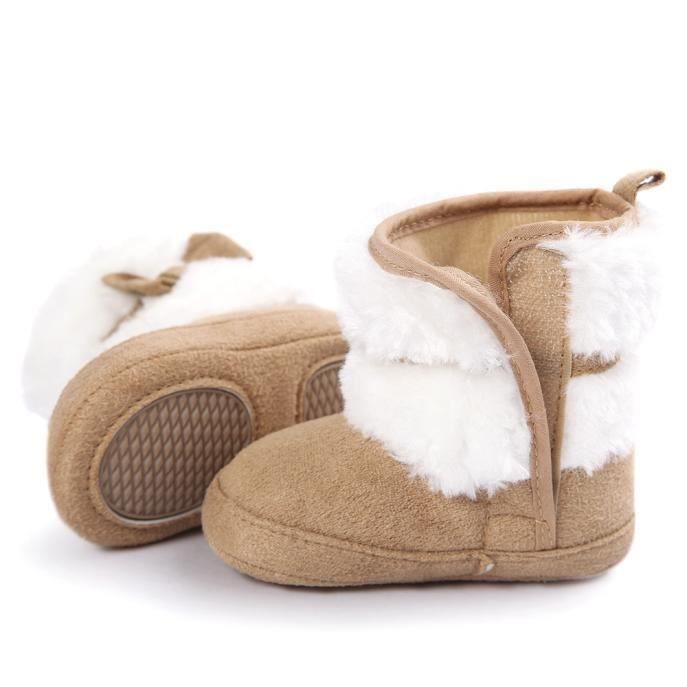 berceau semelle Doux Bébé de bottes chaussures petits douce neige tout chaud garder kaki bowknot bottes AqTqza8