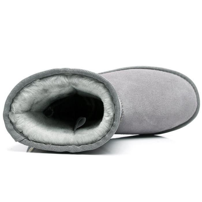 Classique mi-mollet doublées de fausse fourrure Bottes en suède neige Beaucoup de couleurs disponibles C7Z13 Taille-36 1-2