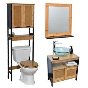 Meuble wc achat vente meuble wc pas cher soldes d s Petit meuble salle de bain bambou