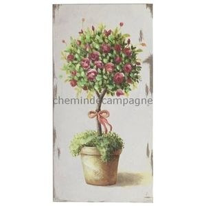 TABLEAU - TOILE Tableau Cadre en Bois Peint Rosier 30x15.50 cm 15,