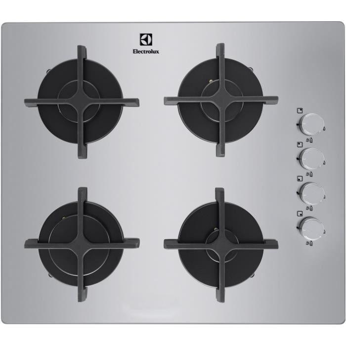 Gaz-4 foyers-L 55 x P 47 cm-Revêtement verre-Couleur inox-Allumage automatique-Sécurité thermocoupleTABLE DE CUISSON GAZ - PLAQUE DE CUISSON GAZ