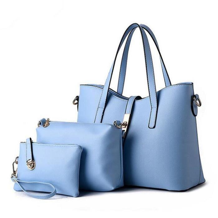 Mode Sac À Bandoulière Bleu Pu Cuir Sac D'Épaule À Main Pour Femme Vogue Elégant Sac Portefeuille