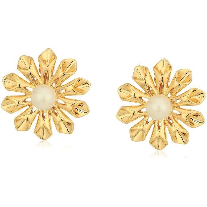 Carolee Pearl Glam Floral Burst Clip-on Earrings HY6J8
