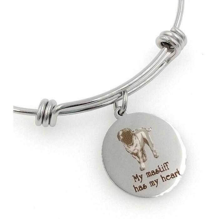 Les femmes de mon Mastiff a mon coeur Gravé Bracelet extensible BWXLE