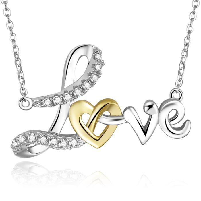 Plaqué or 18 carats Argent sterling Zircon Cubique Amour de coeur Pendentif pour femme