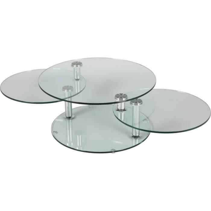 Table basse ronde en verre 3 plateaux achat vente table basse table basse ronde en verre - Table basse en verre cdiscount ...