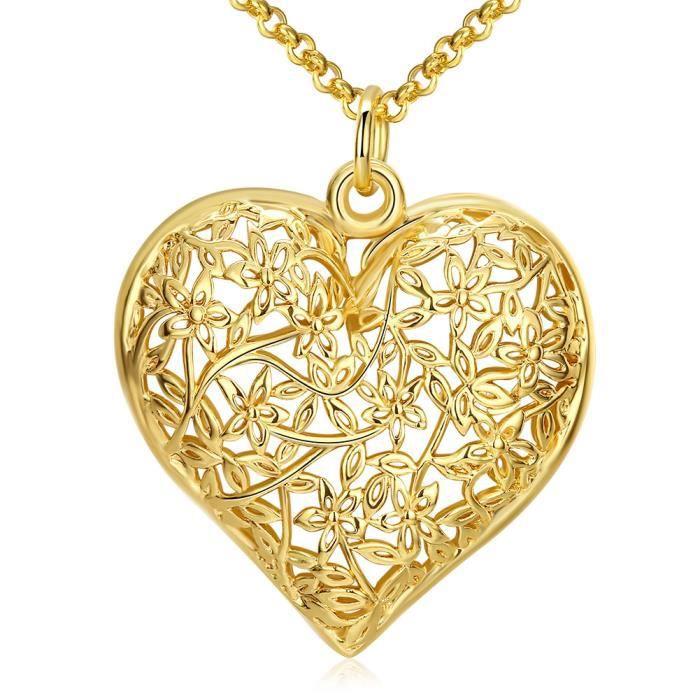 Pendentif Collier Forme Coeur D Amour Fleur D Or Design Scrub Bijoux