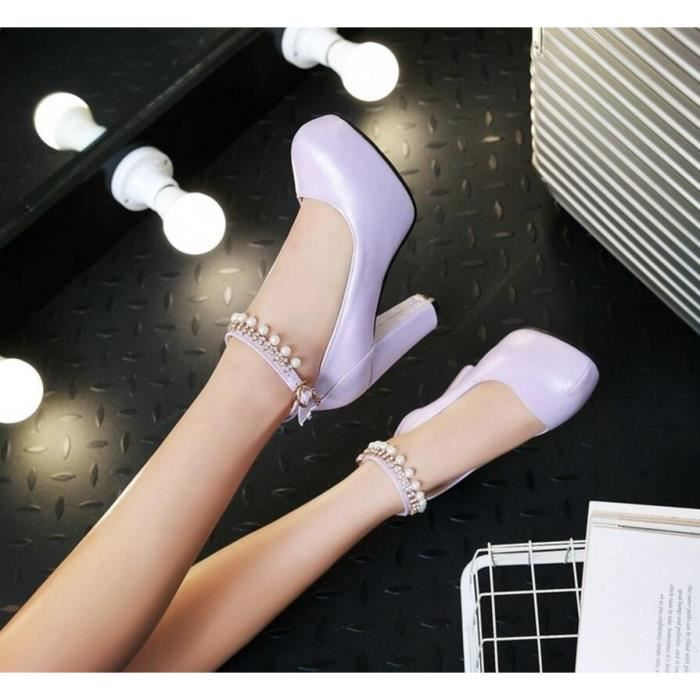 Sexy Pure Color Round Toe Chaussures talons hau... uez93Bk