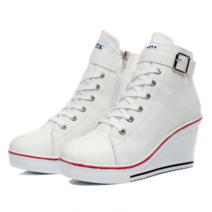 Husk'Sware® Grandes femmes de taille chaussures de toile à lacets et boucle talon compensé chaussures de sport