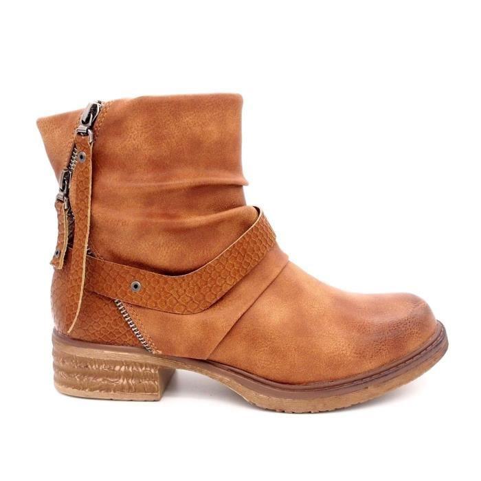 f3e4d339e189 Bottines chaussures femme Bout rond Talon plat cuir synthétique ...