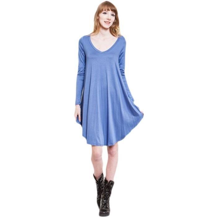 Craze robe longueur genou partie taille haute élégante manches décontractée Z2DFH