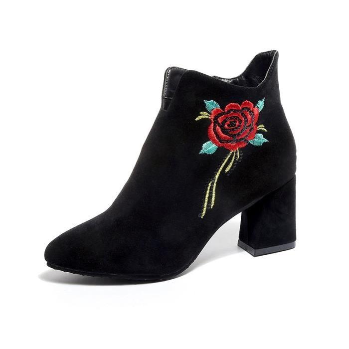 automne les fleurs a de bottes décoré des à l'hiver mode talons et à 2017 daim glissière avec fermeture rude latérale bottes Iw80I5Wq