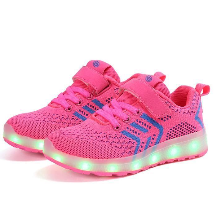 Baskets fille garçon Clignotant lumineux chaussures de sport Chaussures  enfants lumières LED taille 25-37 382772b11dd6