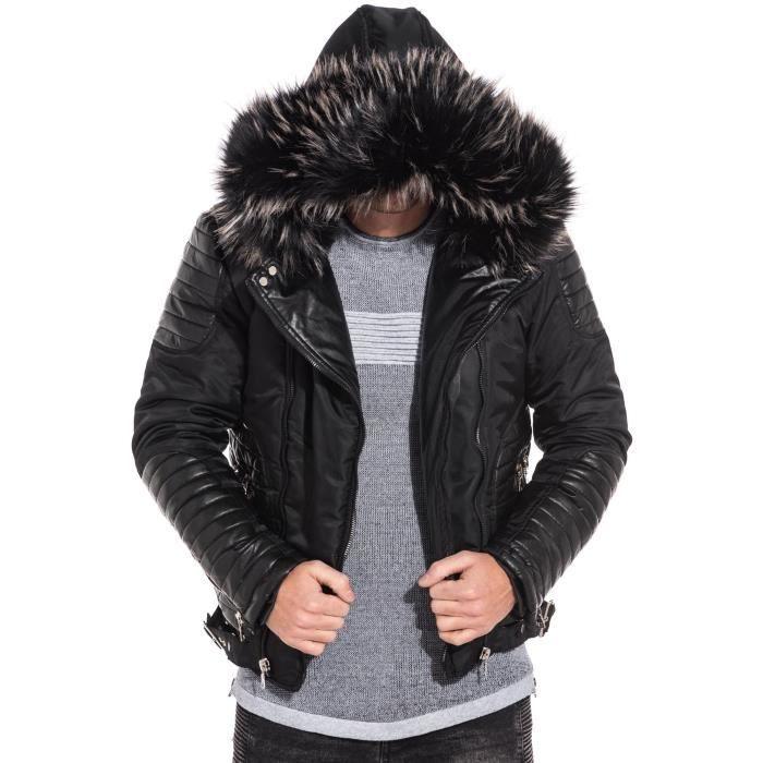 Blouson homme noir effet cuir zip capuche fourrure Noir Noir - Achat ... dcbd86990ae