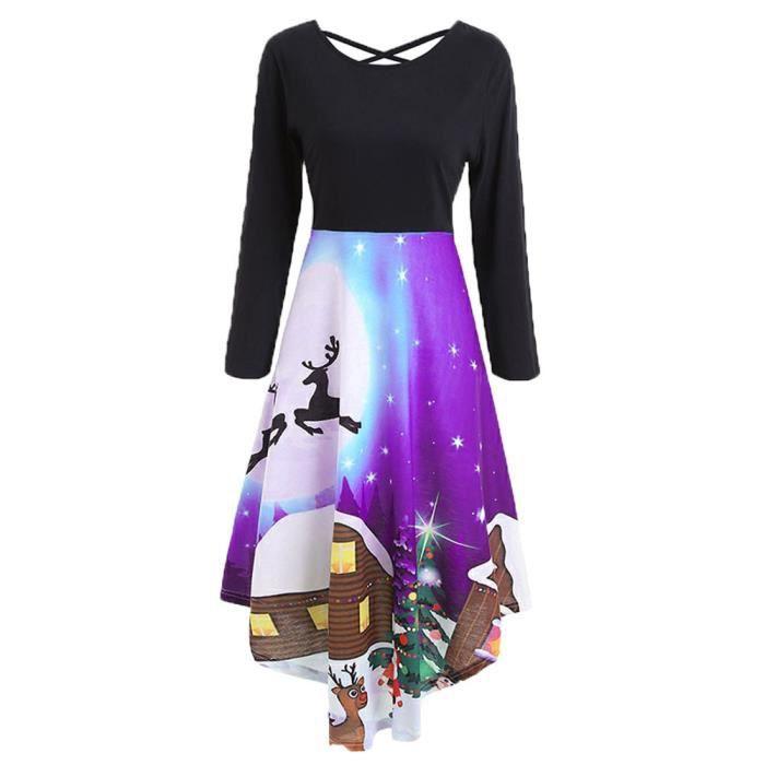 bbeb86d4c06 Femmes Fashion manches longues Croix dentelle jusqu à robe de soirée  Tunique robe de soirée Violet EXQUISGIFT