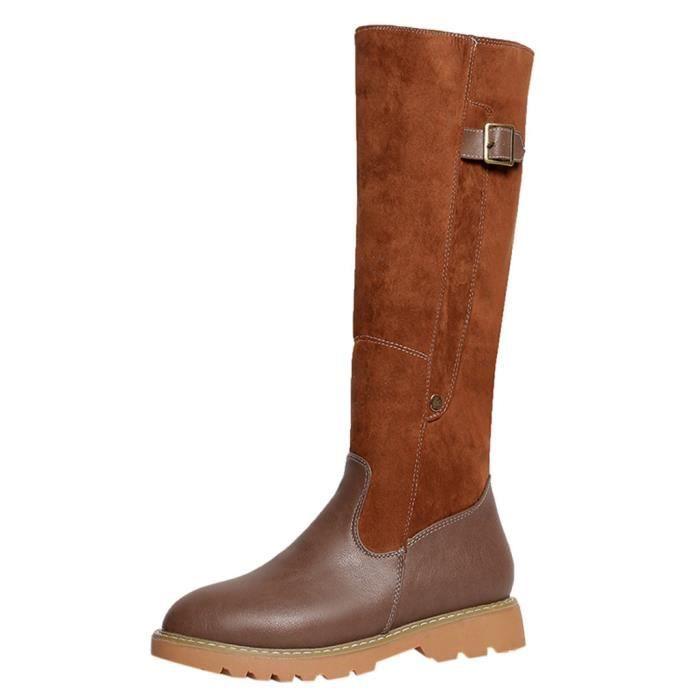 Rondes En Talon De Veberge Cuir Zipper Carré Toe Bottes 2061 Femmes Chaudes Gardez Chaussures Neige qwxvIU