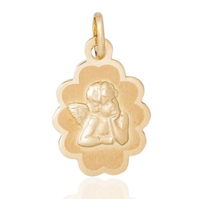 Médaille Ange Festonnée Ronde En Or Jaune - TU